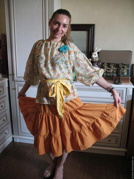 Блузки ручной работы. Ярмарка Мастеров - ручная работа. Купить Блузка из хлопка цветы. Handmade. Цветочный, юбка женская, бохо