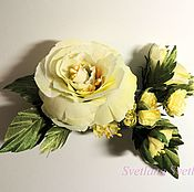 Свадебный салон handmade. Livemaster - original item Brooch Tea Rose No. №1. yellow. Handmade.