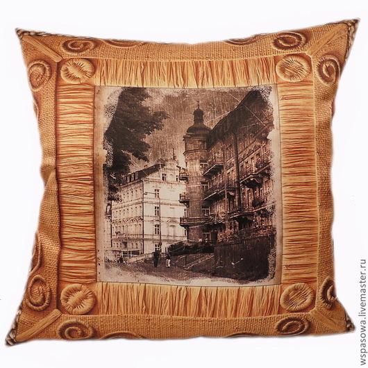 Текстиль, ковры ручной работы. Ярмарка Мастеров - ручная работа. Купить Декоративная подушка Ретро город. Handmade. Бежевый