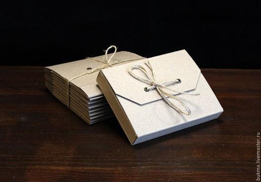 Упаковка ручной работы. Ярмарка Мастеров - ручная работа. Купить Коробка-конверт из крафт-картона, формат А6. Handmade. Коричневый