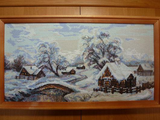 Пейзаж ручной работы. Ярмарка Мастеров - ручная работа. Купить Зимняя деревня. Handmade. Бледно-сиреневый, зима, Новый Год