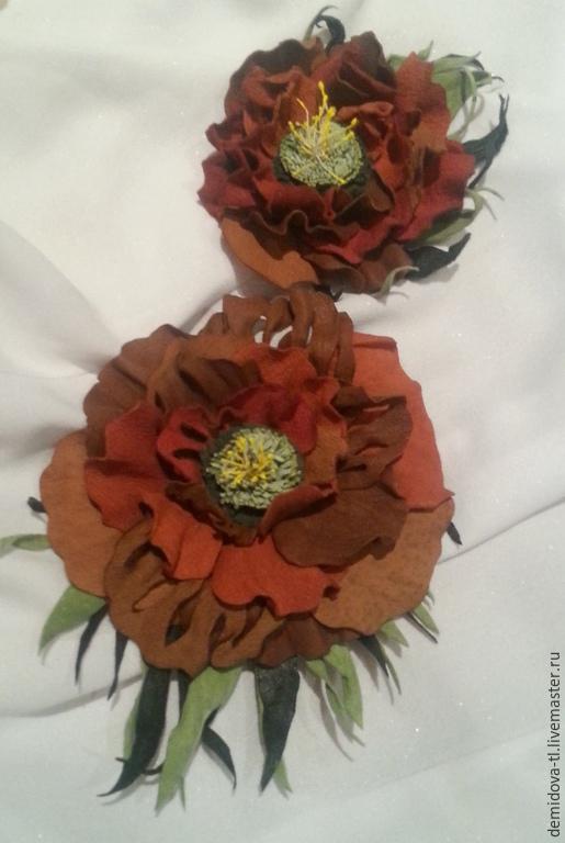 """Броши ручной работы. Ярмарка Мастеров - ручная работа. Купить брошь из кожи """"рыжик"""". Handmade. Рыжий, цветок из кожи"""