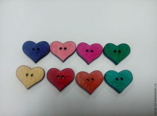 """Аппликации, вставки, отделка ручной работы. Ярмарка Мастеров - ручная работа. Купить Пуговицы деревянные """" Сердце"""". Handmade. Разноцветный"""