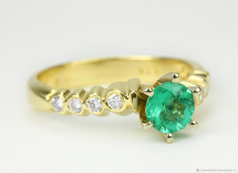 Modern Emerald Diamond Statement Ring, Bezel Set Diamond Accent Ring, Rings, West Palm Beach,  Фото №1