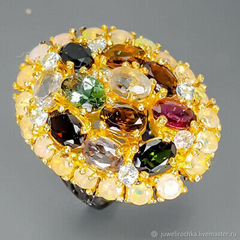 Серебряное кольцо с натуральными турмалинами и опалами, Кольца, Омск,  Фото №1