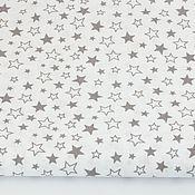 Материалы для творчества ручной работы. Ярмарка Мастеров - ручная работа 100% хлопок, Польша, мелкие серые звезды на белом фоне. Handmade.