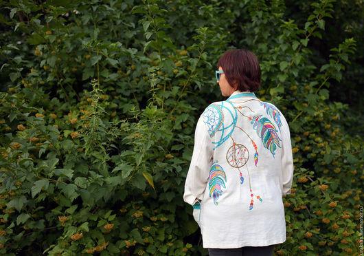 Пиджаки, жакеты ручной работы. Ярмарка Мастеров - ручная работа. Купить Льняной пиджак  Ловец  снов. Handmade. Комбинированный