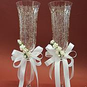 Свадебный салон ручной работы. Ярмарка Мастеров - ручная работа бокалы в белом с розами. Handmade.