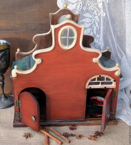 Чайный домик купить, короб для чайных пакетиков купить, чайный короб купить, чайная шкатулка купить, европейский, Европа, старая Европа,  Голландия, старинный дом, старинный чайный домик.
