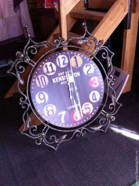 Часы для дома ручной работы. Ярмарка Мастеров - ручная работа. Купить Кованые часы. Handmade. Черный, Ковка, циферблат