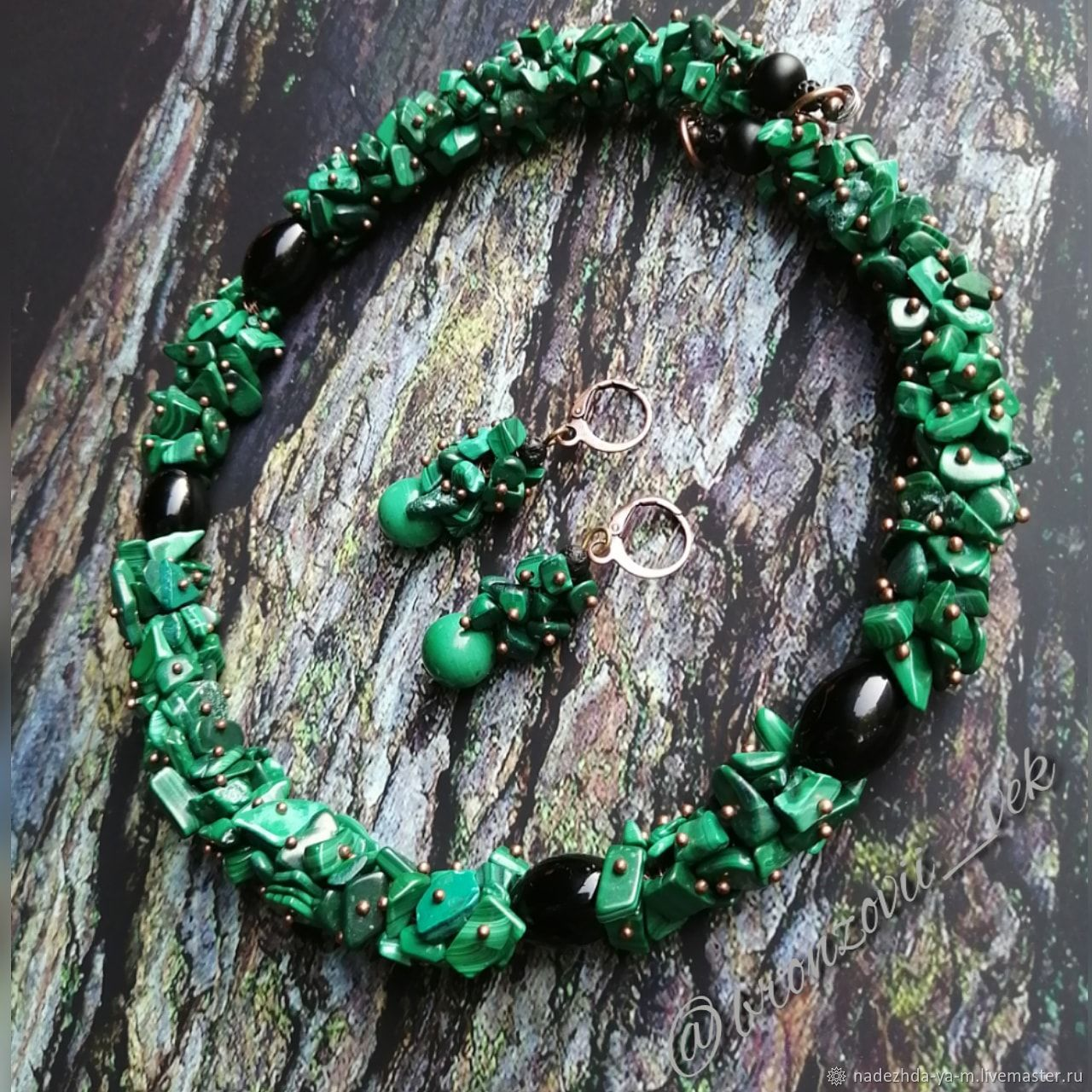 Set of jewelry with a crumb of natural malachite, Jewelry Sets, Aban,  Фото №1