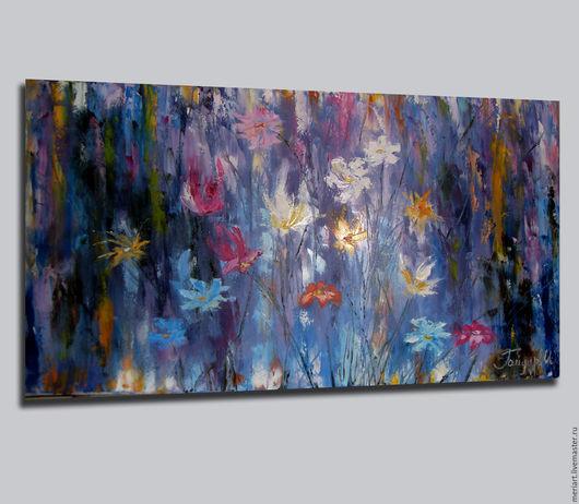 """Абстракция ручной работы. Ярмарка Мастеров - ручная работа. Купить Картина маслом """"Музыка цвета"""". Handmade. Тёмно-синий, масло"""