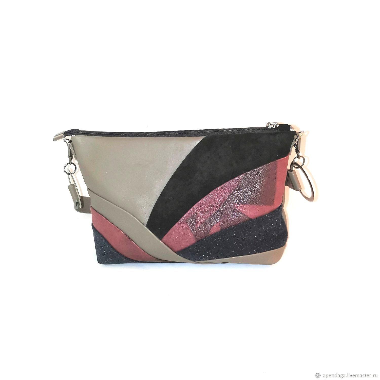 Leather bag 'Wave', women's shoulder bag, gray handbag, Classic Bag, Ulyanovsk,  Фото №1