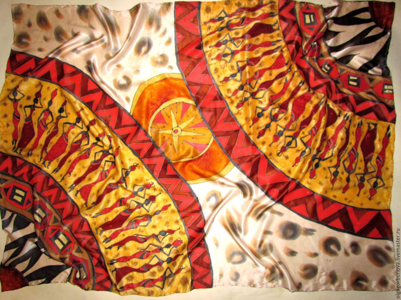 Batik scarf 'Rhythms of Africa' shawl batik, hand-painted on silk, Shawls, Yaroslavl,  Фото №1