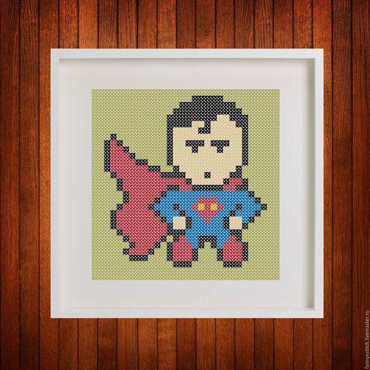 """Вышивка ручной работы. Ярмарка Мастеров - ручная работа. Купить Схема для вышивки крестом """"Супермен - Superman"""". Handmade. Схема для вышивки"""