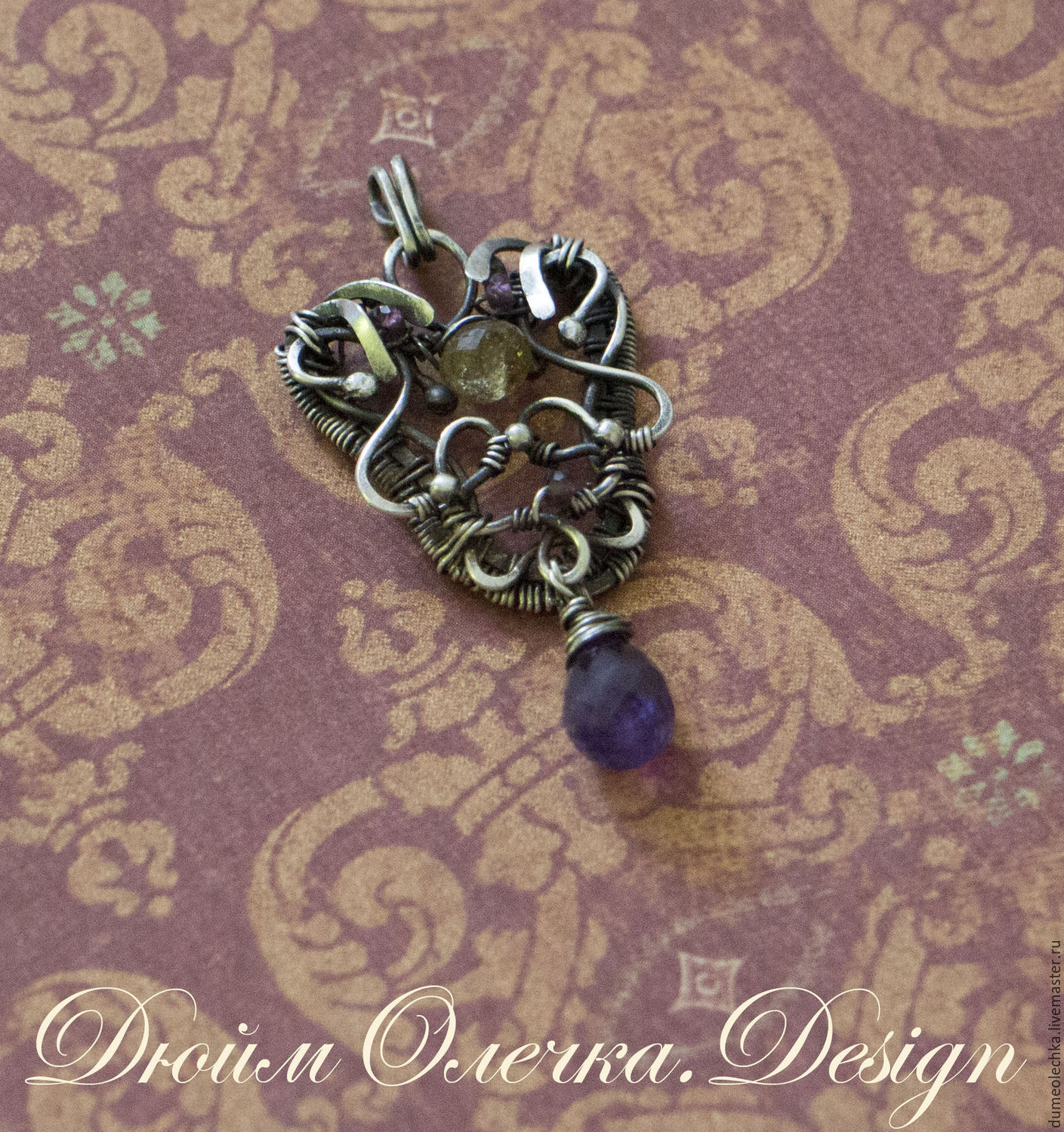 Silver pendant 'Concubine' with amethyst and tourmaline, Pendants, Rostov-on-Don,  Фото №1