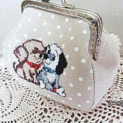 Сумки и аксессуары handmade. Livemaster - original item Cosmetic bag with clasp hand embroidery puppies. Handmade.