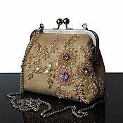 Сумки и аксессуары handmade. Livemaster - original item Evening handbag, Golden leather handbag, embroidered handbag. Handmade.