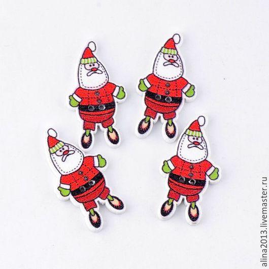 Пуговицы новогодние Санта-Клаус