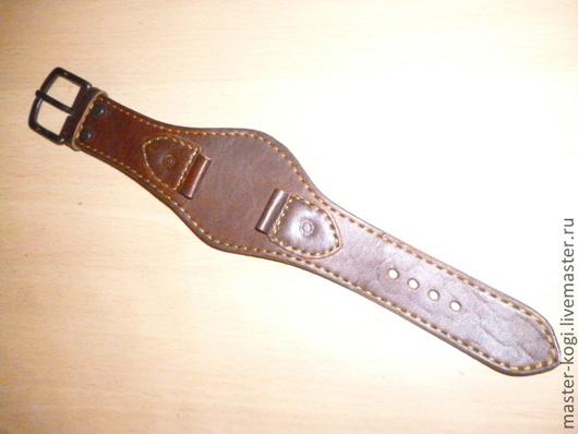 """Браслеты ручной работы. Ярмарка Мастеров - ручная работа. Купить ремешок на часы """"час пик"""". Handmade. Коричневый, кожаный браслет"""