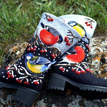 """Обувь ручной работы. Ярмарка Мастеров - ручная работа Валяные сапоги """"Зимние птички"""" женские. Handmade."""