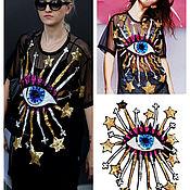 Материалы для творчества handmade. Livemaster - original item Eye applique embroidered with sequins. Handmade.