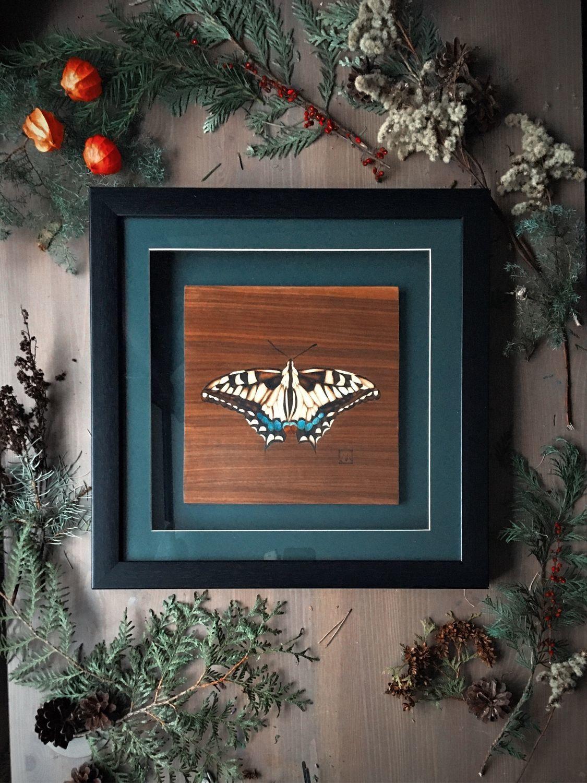 "Картина из дерева "" Бабочка Махаон ""  (маркетри) в раме, Картины, Москва,  Фото №1"