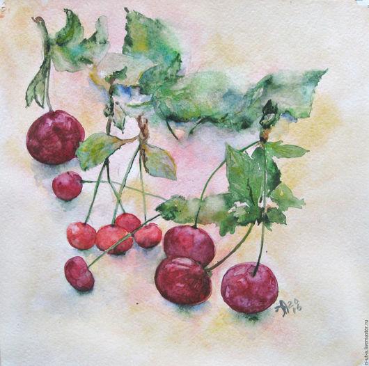 Натюрморт ручной работы. Ярмарка Мастеров - ручная работа. Купить Черешня и дикая вишня. Картина акварелью. Handmade. Бордовый, ягоды