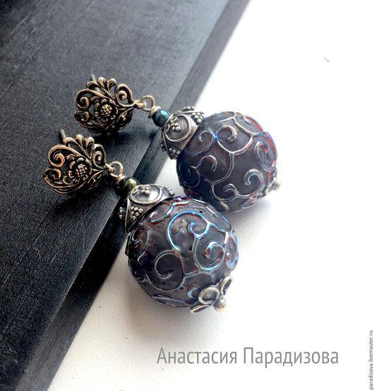 """Серьги ручной работы. Ярмарка Мастеров - ручная работа. Купить """"ANCIENT"""" серебряные серьги lampwork. Handmade. Серебряные серьги, каменный"""
