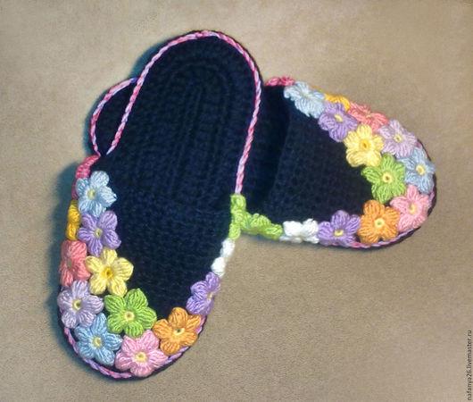 Обувь ручной работы. Ярмарка Мастеров - ручная работа. Купить Тапочки с цветами. Handmade. Комбинированный, тапки, обувь ручной работы