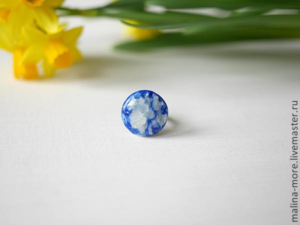 """Кольца ручной работы. Ярмарка Мастеров - ручная работа. Купить Кольцо """"Лед синего моря"""". Handmade. Керамика, украшения"""