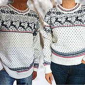 Подарки к праздникам ручной работы. Ярмарка Мастеров - ручная работа Свитер с оленями шерстяной белый Норвежский свитер family look. Handmade.