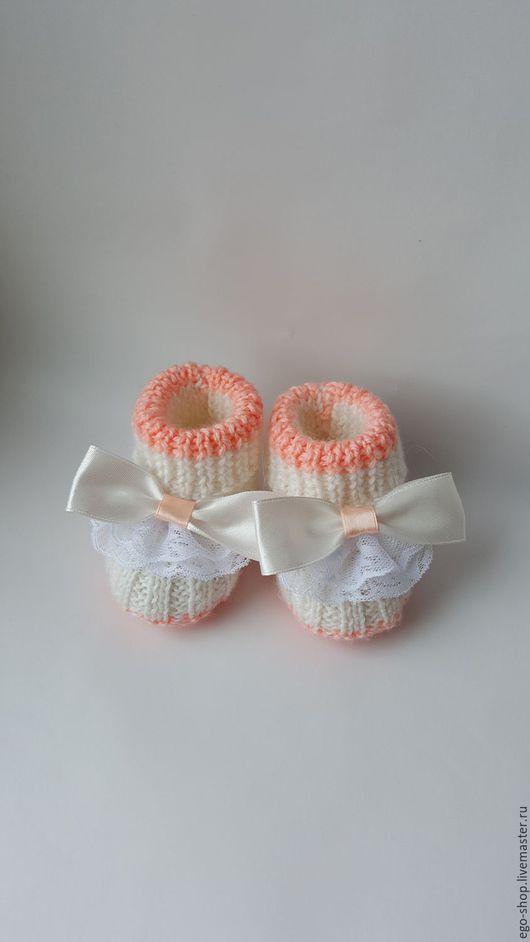 Для новорожденных, ручной работы. Ярмарка Мастеров - ручная работа. Купить Пинетки для девочки с кружевом и бантиком. Handmade. Пинетки для девочки