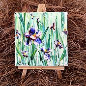 Картины и панно handmade. Livemaster - original item Painting miniature oil Irises. Handmade.