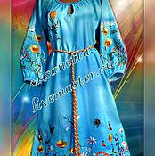 """Одежда ручной работы. Ярмарка Мастеров - ручная работа Платье """"Лазурь"""" лен. Handmade."""