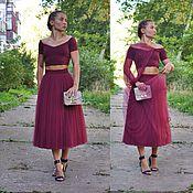 Фатиновая юбка марсала