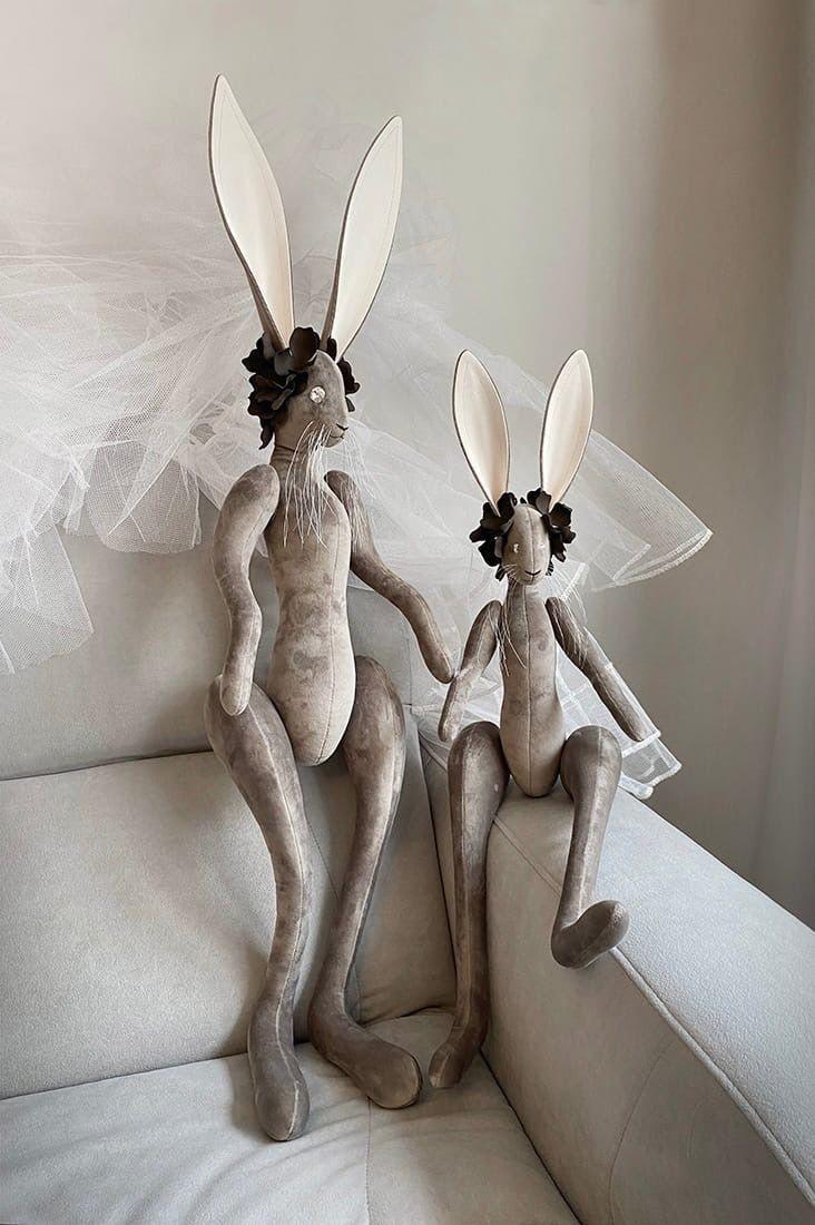 Зайцы большие (1 м и 75 см) с длинными ушами интерьерные серо-коричнев, Мягкие игрушки, Санкт-Петербург,  Фото №1