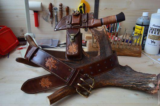 Пояса, ремни ручной работы. Ярмарка Мастеров - ручная работа. Купить Ремень из кожи подарок охотнику. Handmade. Ремень охотника