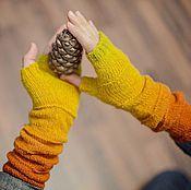 """Аксессуары ручной работы. Ярмарка Мастеров - ручная работа Митенки """"Краски осени"""". Handmade."""