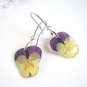 Украшения handmade. Livemaster - original item Earrings with Real Flowers Pansies Silver Eco. Handmade.