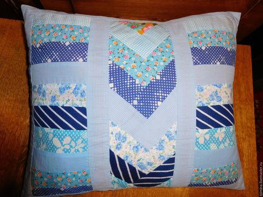 Текстиль, ковры ручной работы. Ярмарка Мастеров - ручная работа. Купить Подушка. Handmade. Голубой, наволочка пэчворк, синтепон