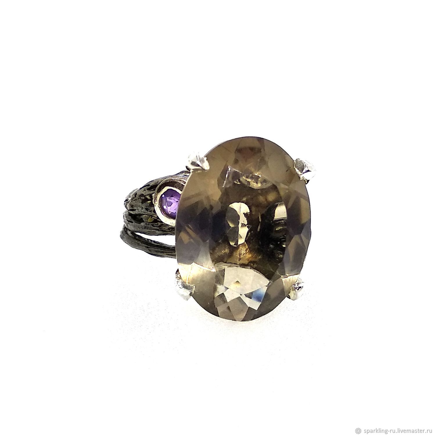 Large silver ring with smoky quartz rauchtopaz, p. .17,5,, Rings, Moscow,  Фото №1
