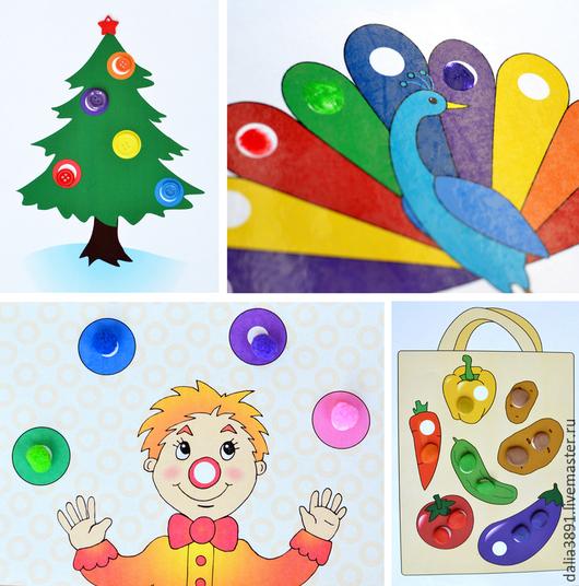 """Развивающие игрушки ручной работы. Ярмарка Мастеров - ручная работа. Купить """"Заплатки"""" набор карточек для игр с помпонами, пуговицами и красками. Handmade."""