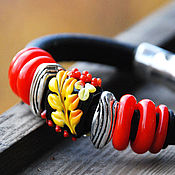 "Украшения handmade. Livemaster - original item Handmade lampwork glass bracelet ""Khokhloma"". Regaliz-style.. Handmade."
