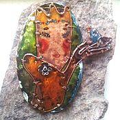 Украшения ручной работы. Ярмарка Мастеров - ручная работа Принцесса, олень и соловей, брошь-кулон-трансформер с имитацией эмали. Handmade.