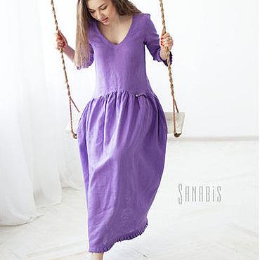 Одежда ручной работы. Ярмарка Мастеров - ручная работа Платье из льна «Сирень». Handmade.