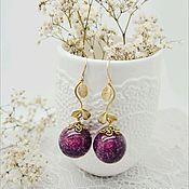 Украшения ручной работы. Ярмарка Мастеров - ручная работа Серьги-шарики с пурпурной гомфреной. Handmade.