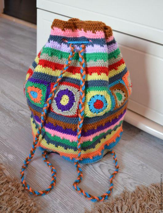 """Рюкзаки ручной работы. Ярмарка Мастеров - ручная работа. Купить Рюкзак женский вязаный """"Карусель красок"""". Handmade. Комбинированный, торба"""