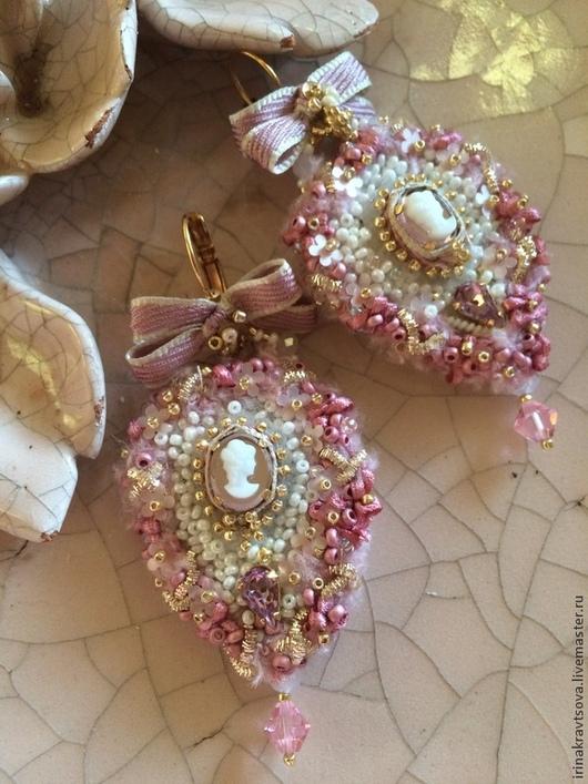 Серьги ручной работы. Ярмарка Мастеров - ручная работа. Купить Серьги СРК 1001. Handmade. Розовый, винтажный стиль