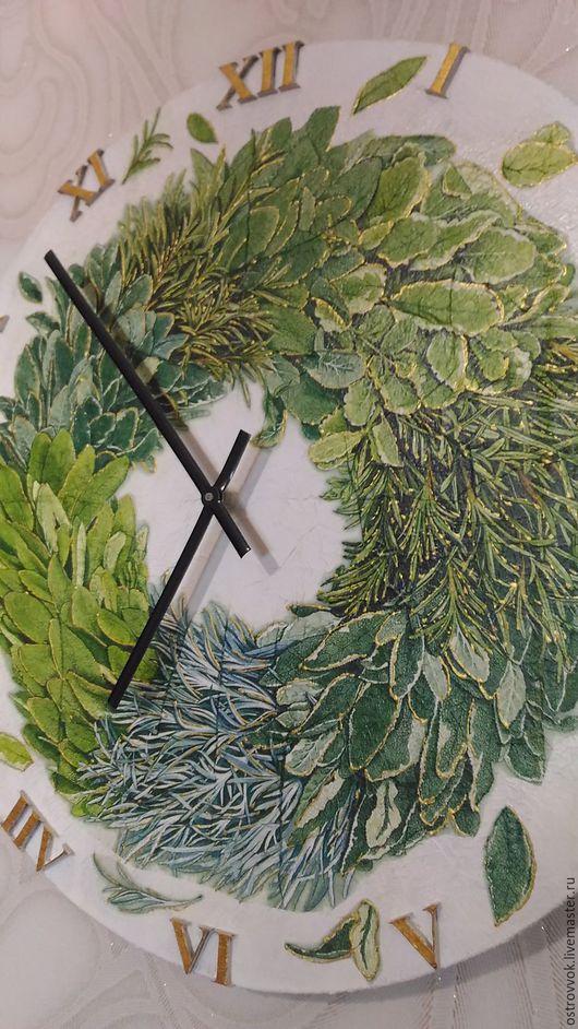 Часы для дома ручной работы. Ярмарка Мастеров - ручная работа. Купить Кухонные часы в стиле рустик. Handmade. Зеленый